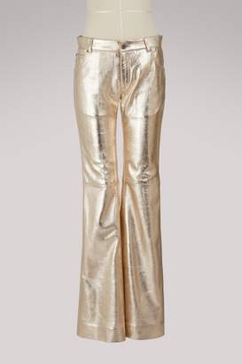 Chloé Metallic leather trousers
