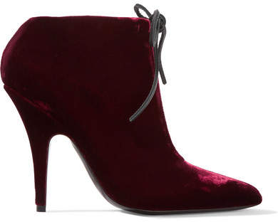 TOM FORD - Velvet Ankle Boots - Claret
