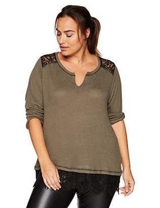 Democracy Women's Plus Size 3/4 Sleeve Lace 2fer Top