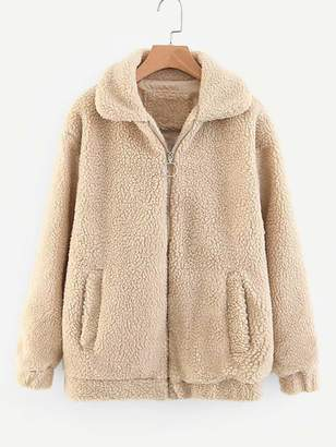 Shein Zipper Fly Solid Teddy Jacket