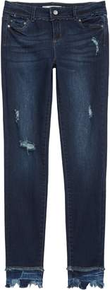 Tractr Distressed Frayed Bite Hem Skinny Jeans