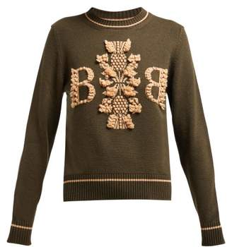 Barrie Thistle League Boucle Intarsia Cashmere Sweater - Womens - Green Multi