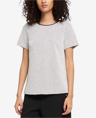 DKNY Jacquard Faux-Leather-Trim Top, Created for Macy's