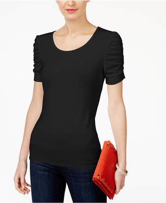 INC International Concepts I.n.c. Ruched-Sleeve Top