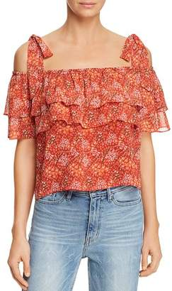 Rebecca Minkoff Jamie Ruffled Cold-Shoulder Floral-Print Top