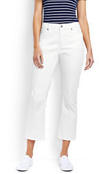 Lands' End Women's Tall Mid Rise Kick Crop Jeans - Stain Repellent-White $79 thestylecure.com