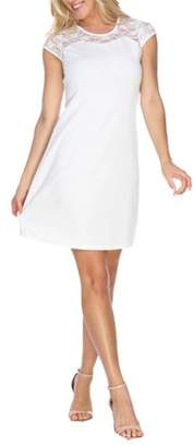 White Mark Women's Lace Detailed A-Line Dress