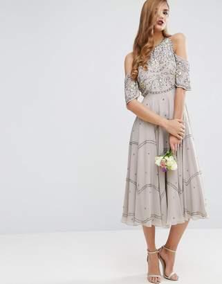 Asos DESIGN Bridesmaid embellished floral cold shoulder midi dress