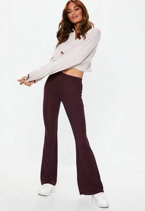 Missguided Petite Purple Jersey Ribbed Kick Flare Pants