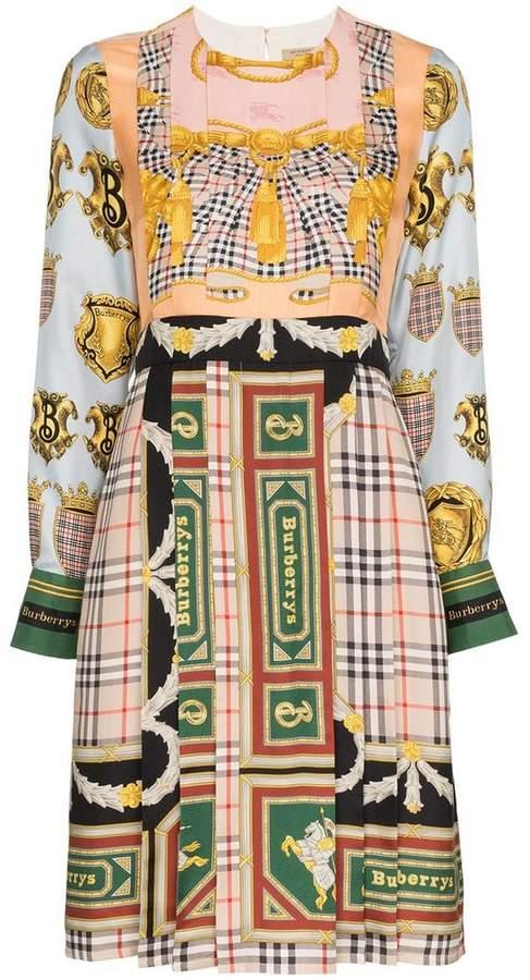 scarf print pleated silk midi dress