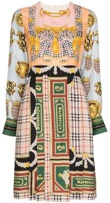 Burberry scarf print pleated silk midi dress