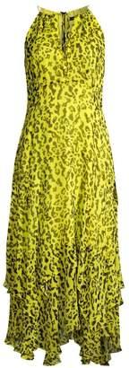 Nanette Lepore Leopard Print Chiffon Handkerchief Midi Dress