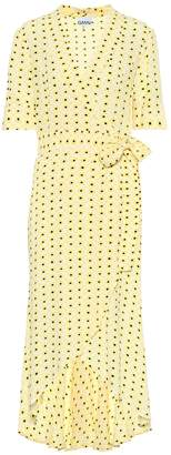Ganni Floral crepe midi wrap dress