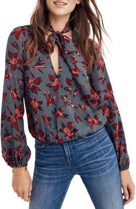 Madewell Tie Neck Faux Wrap Silk Top