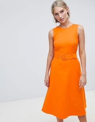 Warehouse compact cotton buckle dress