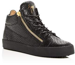 Giuseppe Zanotti Men's Snake-Embossed Leather Mid Top Sneakers