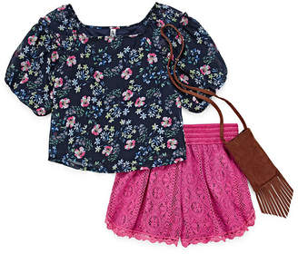 Knitworks Knit Works Allover Floral Woven Top with Crochet Short Set - Girls' 7-16 & Plus
