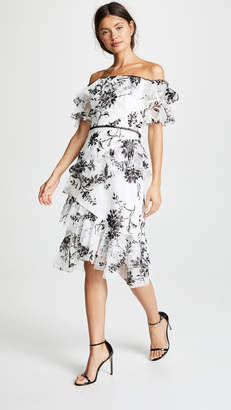 Marchesa Flocked Lace Cocktail