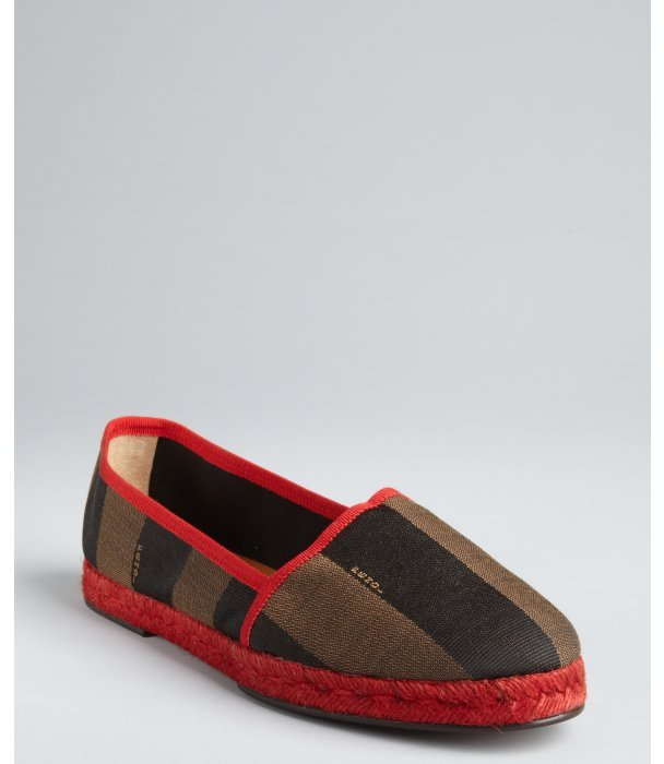 Fendi brown and red striped canvas grosgrain trimmed jute flats