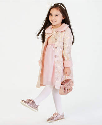 Blueberi Boulevard Toddler Girls 2-Pc. Metallic Brocade Coat & Dress Set