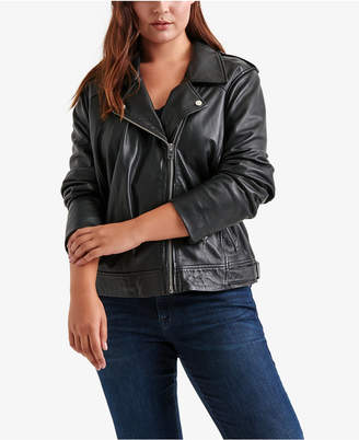 caeb2ac4ab7 ... Lucky Brand Trendy Plus Size Leather Moto Jacket