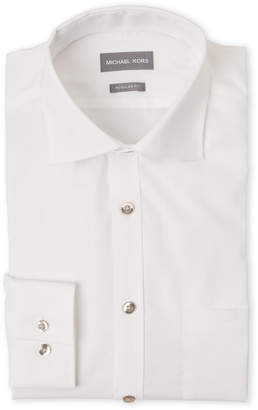 Michael Kors Solid White Regular Fit Dress Shirt