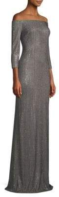 St. John Off-The-Shoulder Glitter Gown