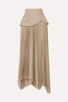 A.W.A.K.E. Mode Pretence Asymmetric Pleated Wool Skirt - Beige