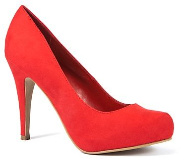 Red Suedette Court Shoes