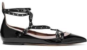 Valentino Eyelet-embellished Smooth And Patent-leather Point-toe Flats