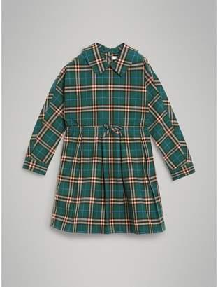 Burberry Check Cotton Drawcord Dress