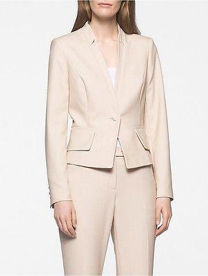 Calvin KleinCalvin Klein Womens Khaki Twill Cropped Suit Jacket