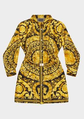 Versace Barocco Print Silk Shirt Dress