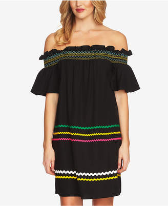 CeCe Off-The-Shoulder Ric-Rac Dress