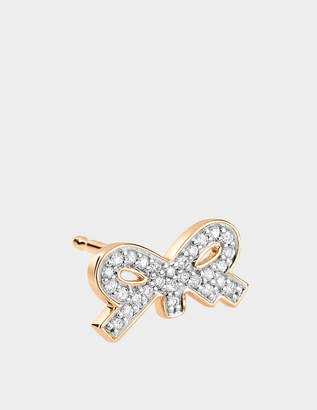 ginette_ny Single Tiny Diamond Bow Stud Earring in 18K Rose Gold and Diamonds