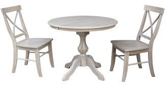 "INC International Concepts 36"" Round Dining Table with 12"" Leaf and 2 X-back Chairs - Washed Gray Taupe - 3 Piece Set"