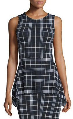 Theory Kalora Lustrate Plaid Peplum Top $192 thestylecure.com