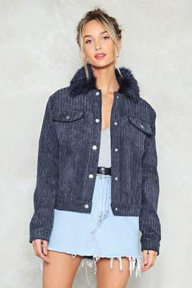 Nasty Gal Fur Your Love Faux Fur Corduroy Jacket