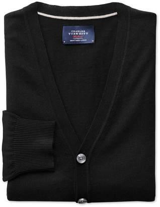 Charles Tyrwhitt Black Merino Wool Cardigan Size XL