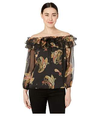 Vince Camuto Specialty Size Petite Long Sleeve Paisley Spice Ruffled Off Shoulder Blouse