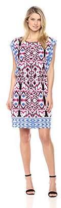 London Times Women's Short Sleeve Round Neck Jersey Blouson Dress