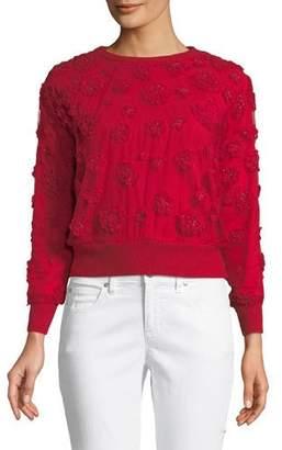 Elie Tahari Roslyn Floral-Applique Sweater