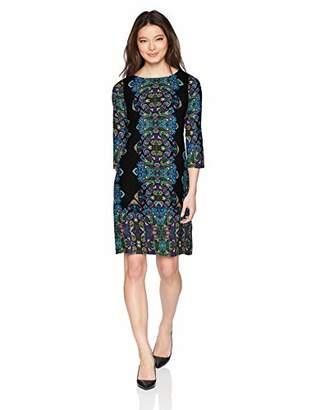 London Times Women's Petite 3/4 Sleeve Matte Jersey Shift Dress