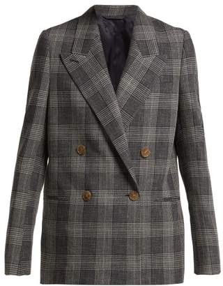 Acne Studios Double Breasted Prince Of Wales Checked Blazer - Womens - Grey