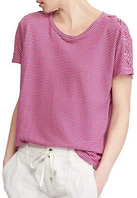 Lauren Ralph Lauren Petite Short Sleeve Stripe Lace Up Knit Tee