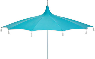 One Kings Lane Rena Tassel Patio Umbrella - Aqua