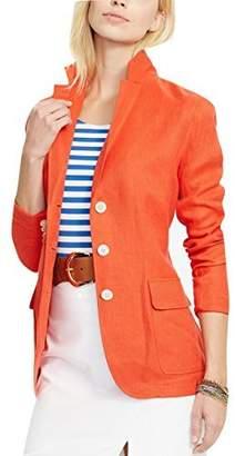 Lauren Ralph Lauren Lauren by Ralph Lauren Womens Linen Herringbone Three-Button Blazer Red