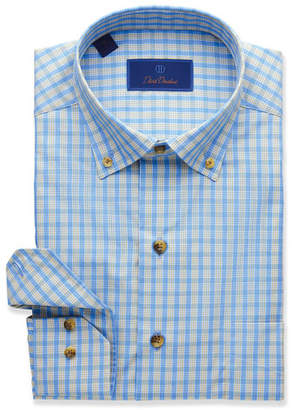 David Donahue Men's Grid Pattern Sport Shirt, Blue/Tan
