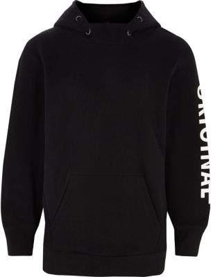 River Island Boys black 'original' sleeve print hoodie