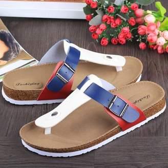 Hanyulore Women Buckle T Strap Sandal Footbed Sandals Flat Platform Flip Flops Shoes Spring Summer Autumn Casual Slippers
